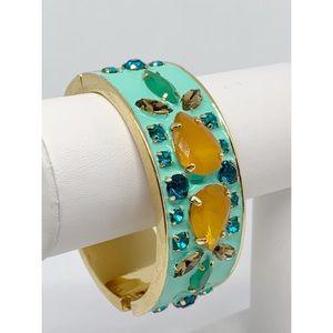J. Crew Jeweled Enamel Hinged Bangle Bracelet